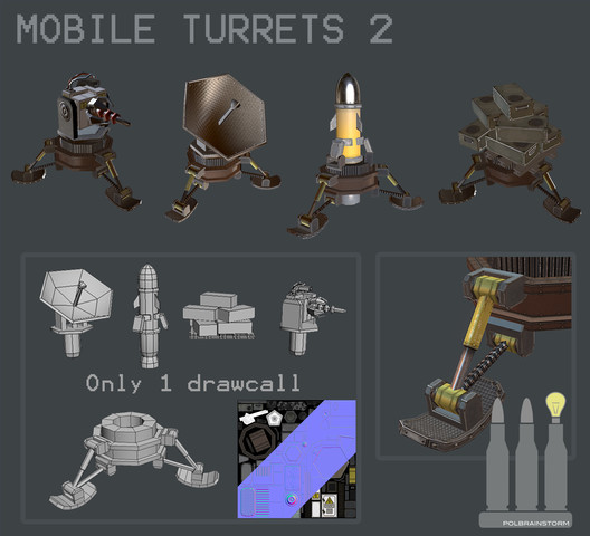 3DOcean MOBILE TURRET PACK 2 9610334