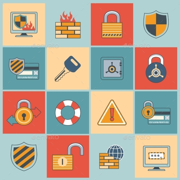 GraphicRiver Security Icons Set 9610360