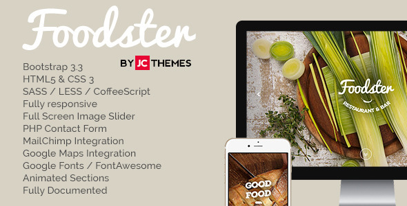 ThemeForest Foodster One Page Restaurant & Bar Theme 9610389