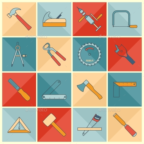 GraphicRiver Carpentry Tools Icons 9610405