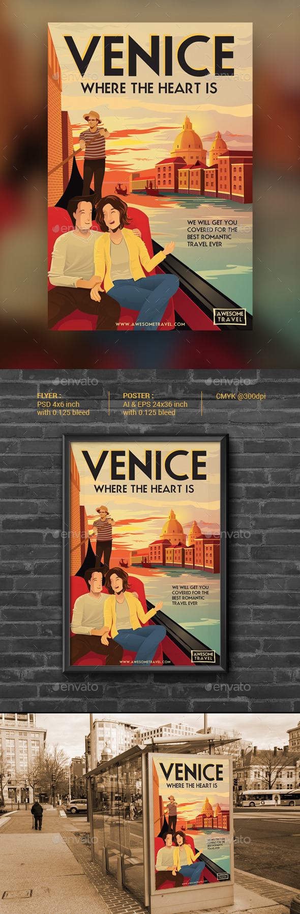 GraphicRiver VENICE Illustrated Travel Flyer & Poster 9548025