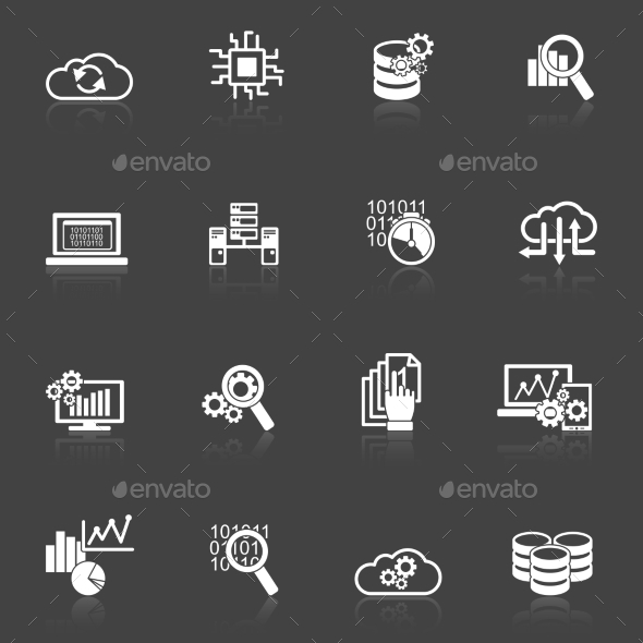 GraphicRiver Database Analytics Icons Black and White 9610503