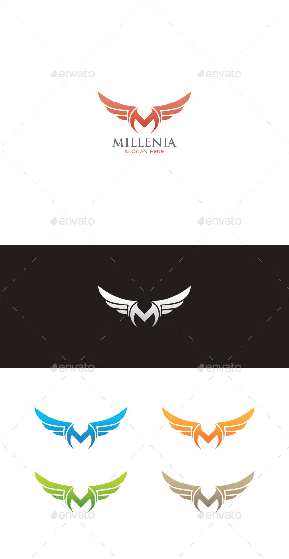 GraphicRiver Winged M Letter Logo 9610544