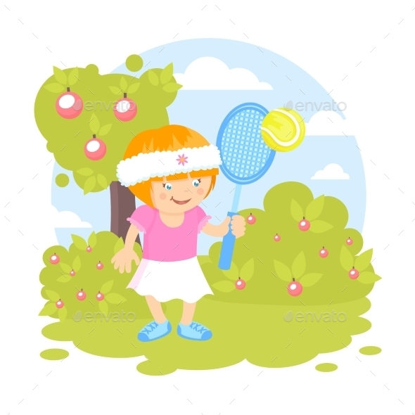 GraphicRiver Girl Playing Tennis 9610644