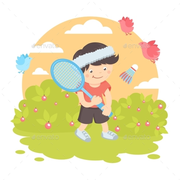 GraphicRiver Boy Playing Badminton 9610656