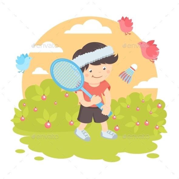 GraphicRiver Boy Playing Badminton 9610656