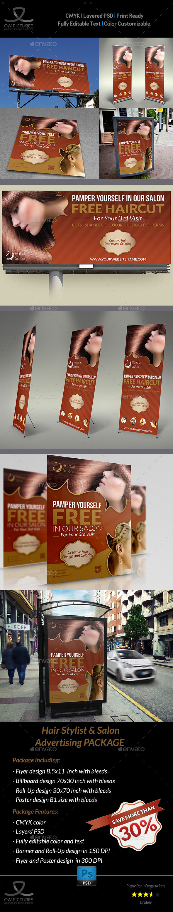 GraphicRiver Hair Stylist & Salon Advertising Bundle 9610663
