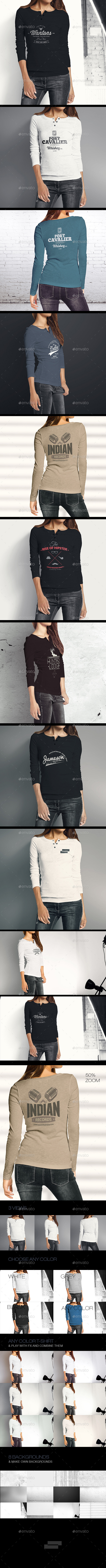 GraphicRiver Woman Longsleeve Shirt Mock-up 9610673