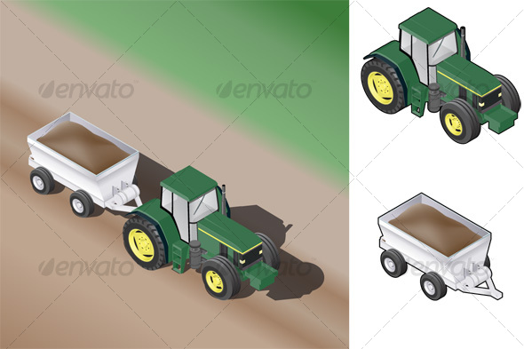 Isometric Farm Tractor w Trailer
