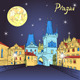 Charles Bridge in Prague at Night - GraphicRiver Item for Sale