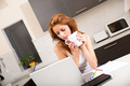Redhead girl drinking cafe in kitchen - PhotoDune Item for Sale