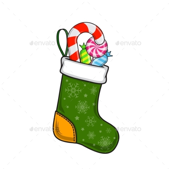 GraphicRiver Christmas and New Year Decorative Sock 9612037