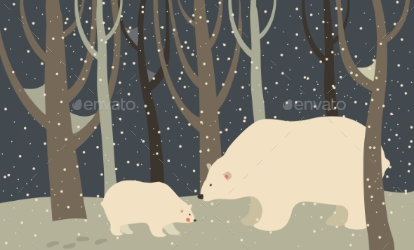 GraphicRiver Polar Bear and Cub in the Forest 9612116