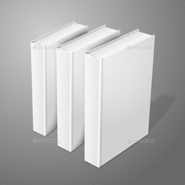 GraphicRiver Three Realistic Standing Hardcover Books 9612460