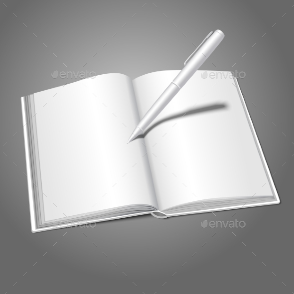 GraphicRiver Blank White Realistic Opened Book and Pen 9612477