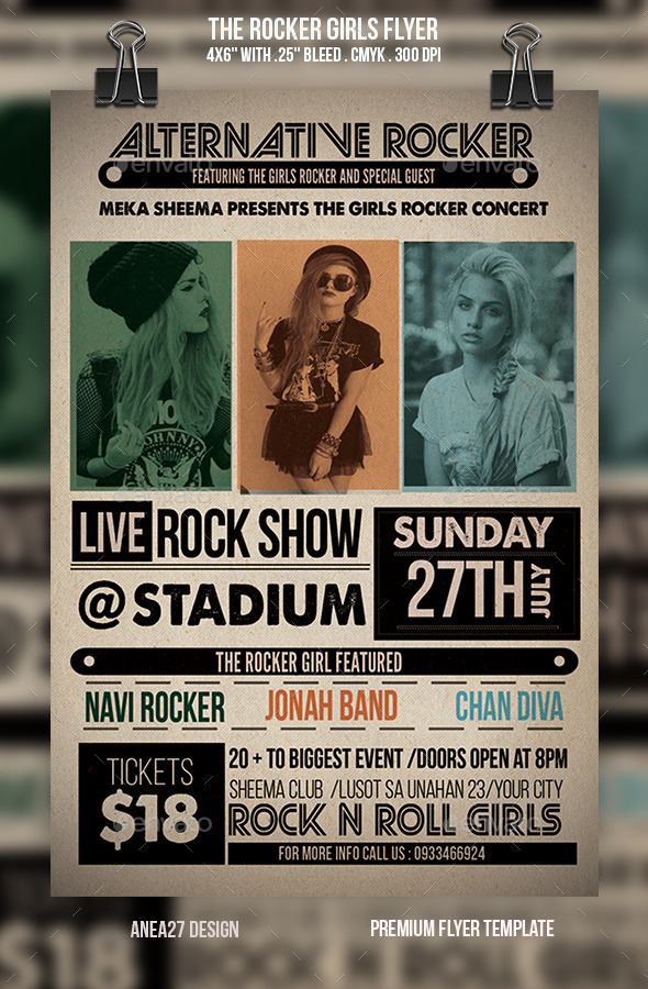 GraphicRiver The Rocker Girls Flyer 9553929