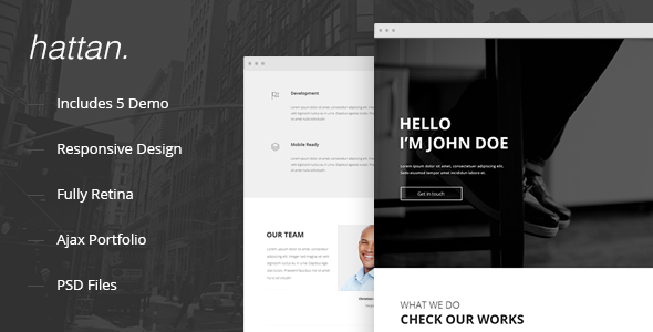 ThemeForest Hattan Creative Onepage Multipurpose Template 9612643