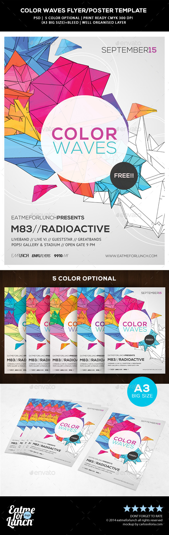 GraphicRiver Futuristic Abstract Flyer Poster Color Waves 9613335