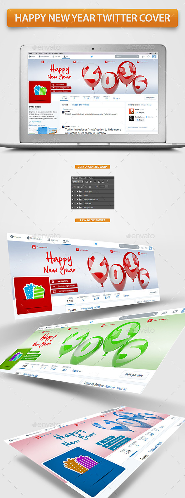 GraphicRiver Happy New Year Twitter Cover 9613495