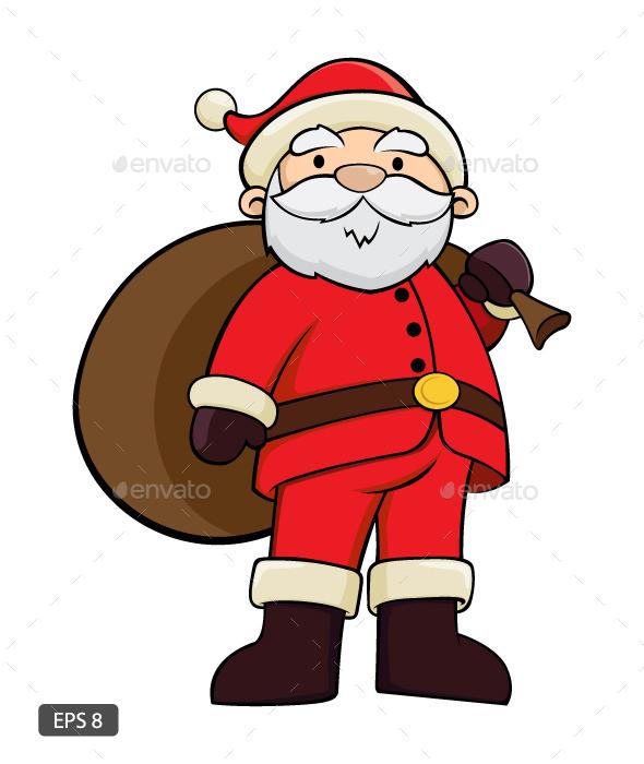 Santa Claus Holding Bag