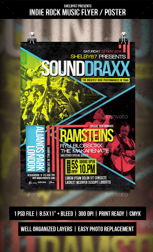GraphicRiver Indie Rock Music Flyer Poster Templates 9552301