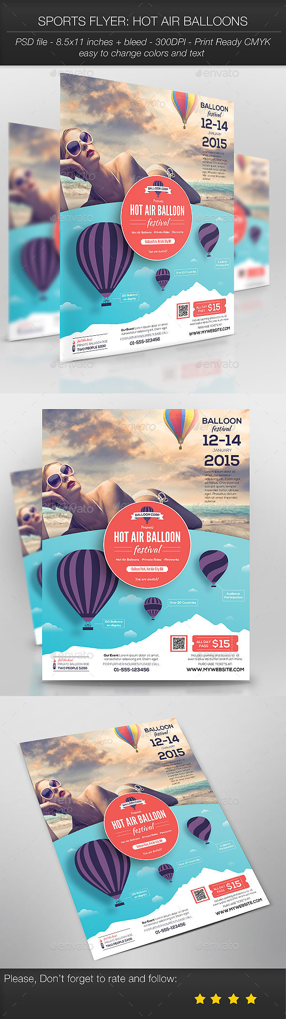 GraphicRiver Sports Flyer Hot Air Balloons 9614113