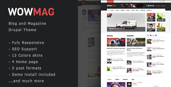 ThemeForest WowMag Blog Magazine News Drupal Theme 9614201