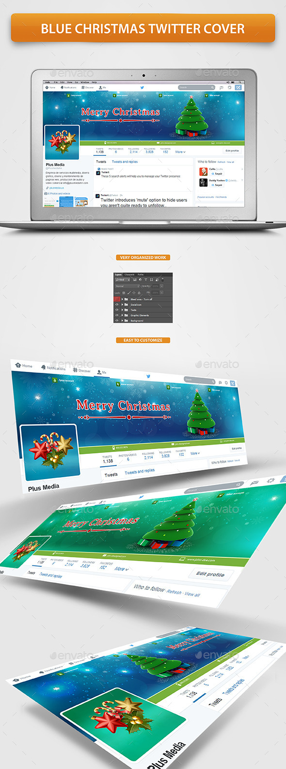 GraphicRiver Blue Christmas Twitter cover 9614489