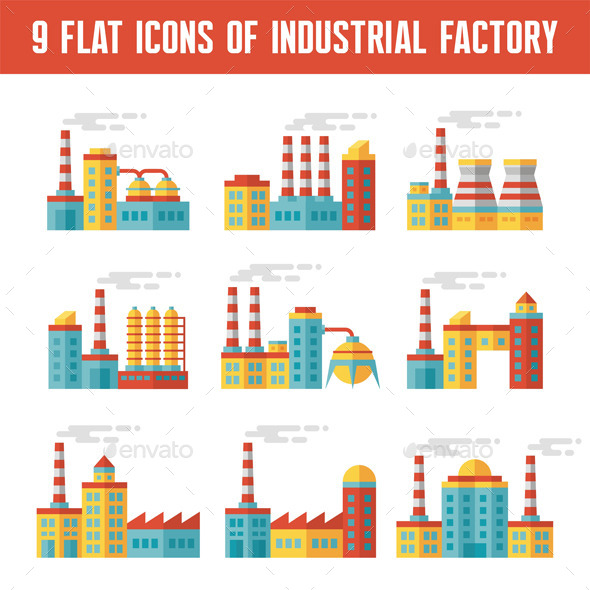 GraphicRiver 9 Industrial Factory Flat Icons 9614687