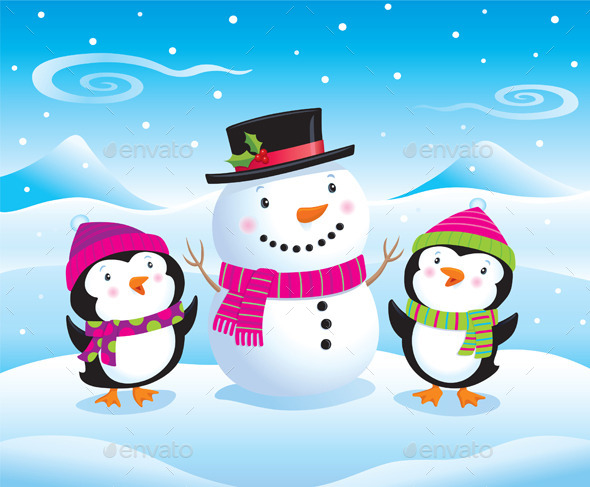 GraphicRiver Baby Penguins and Snowman 9614688