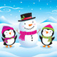 Baby Penguins and Snowman - GraphicRiver Item for Sale
