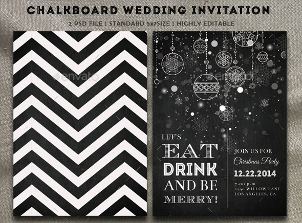 GraphicRiver Chalkboard Christmas Party Invitation 9614695