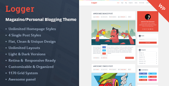 ThemeForest Logger Magazine Personal Blogging Theme 9447207