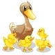 Brown Duck and Her Four Yellow Ducklings - GraphicRiver Item for Sale