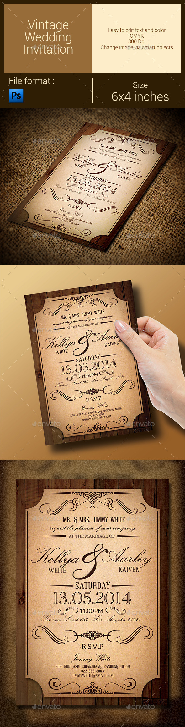 GraphicRiver Vintage Wedding Invitation 9615090