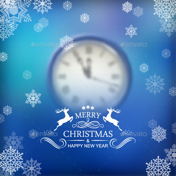 GraphicRiver Christmas Typography Clock Background 9615123