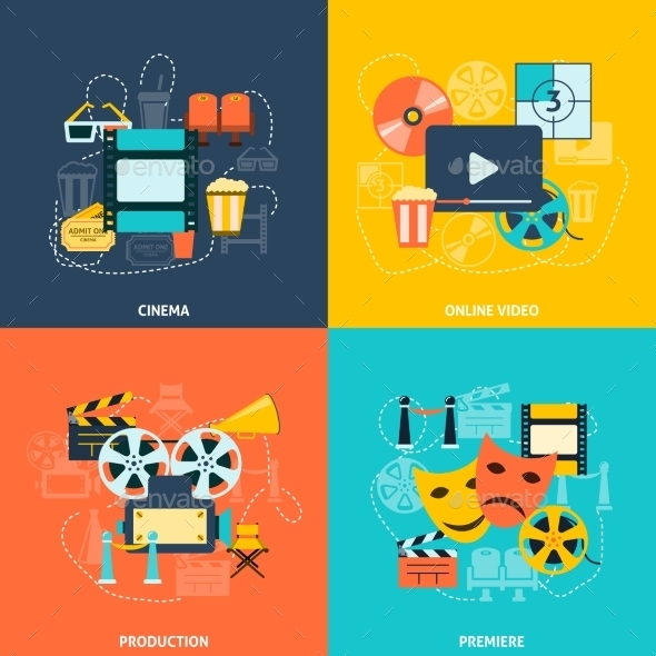 GraphicRiver Cinema Flat Icons Composition 9615257
