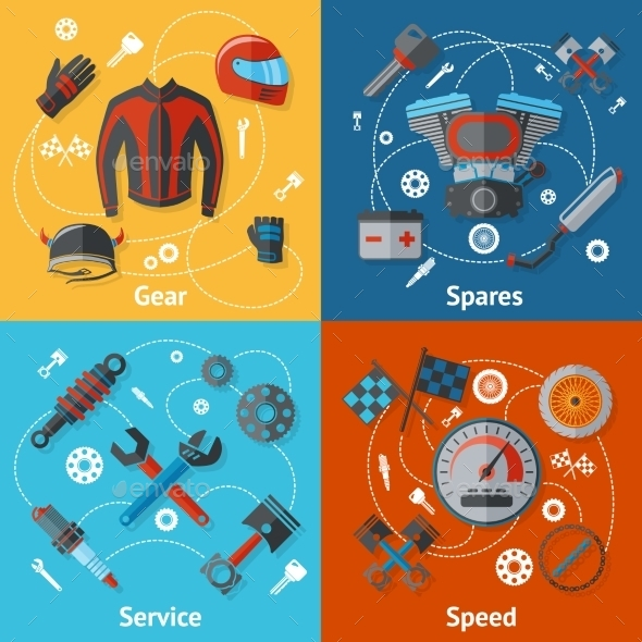 GraphicRiver Motorcycle Parts Flat Set 9615267