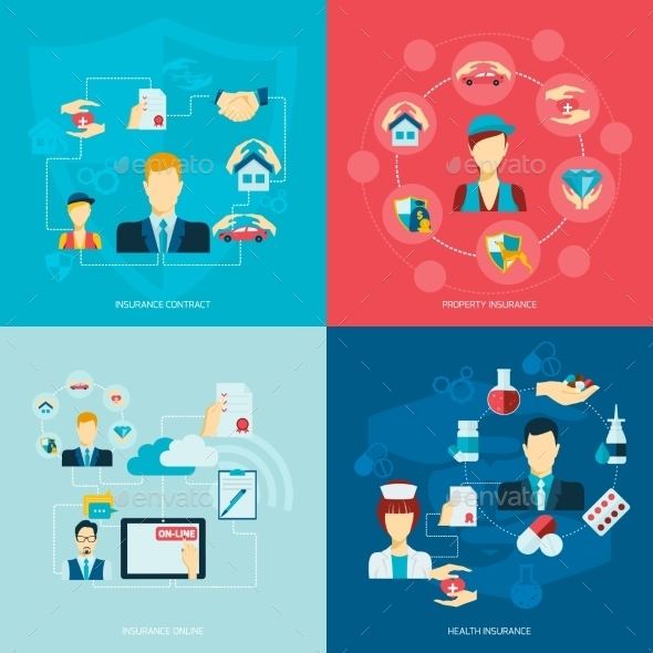 GraphicRiver Insurance Icons Flat 9615319