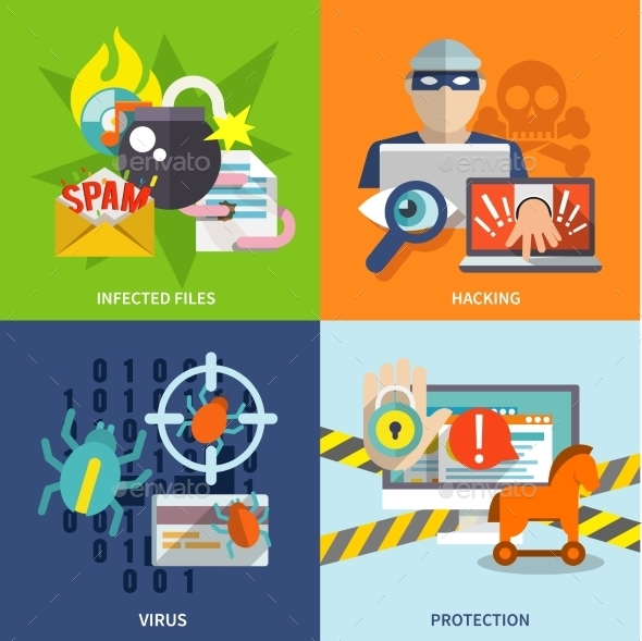 GraphicRiver Hacker Icons Flat Set 9615364