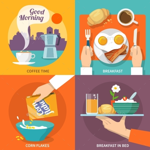 GraphicRiver Breakfast Icon Flat 9615369