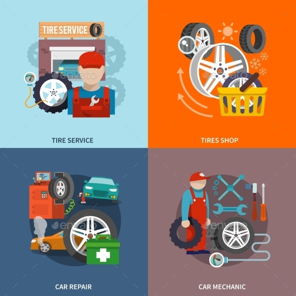 GraphicRiver Tire Service Icon Flat 9615407