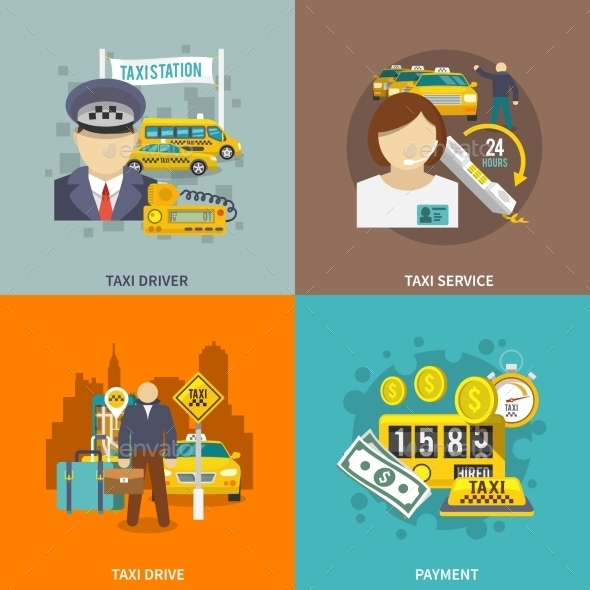 GraphicRiver Taxi Icons Flat Set 9615430