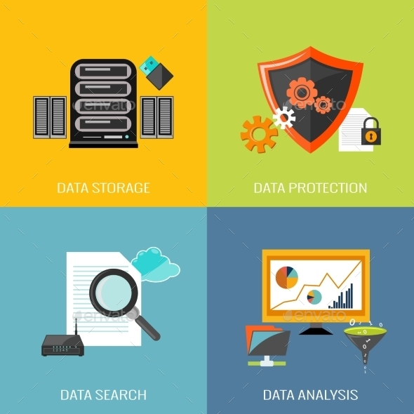 GraphicRiver Database Icons Flat 9615431