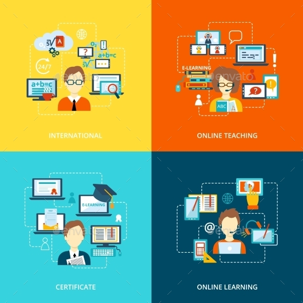 GraphicRiver E-Learning Icon Flat 9615485