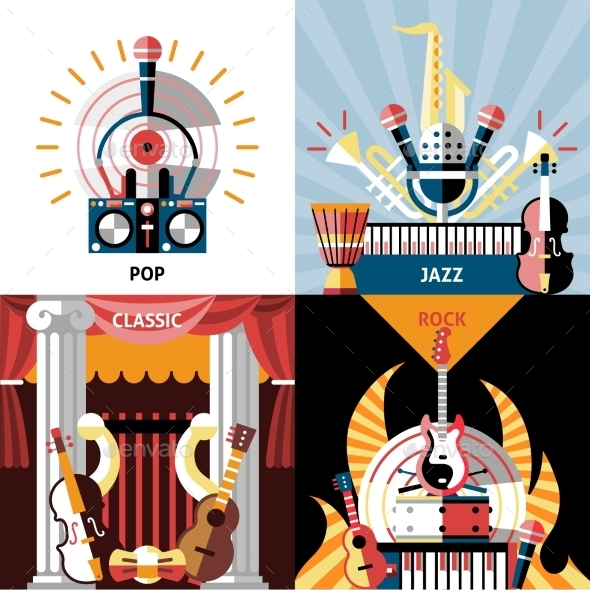 GraphicRiver Musical Instruments Flat Set 9615520