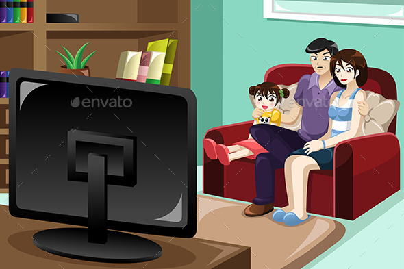 GraphicRiver Family Watching Television 9615687