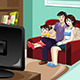 Family Watching Television - GraphicRiver Item for Sale