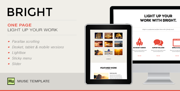 Bright - One Page Muse Template - Creative Muse Templates