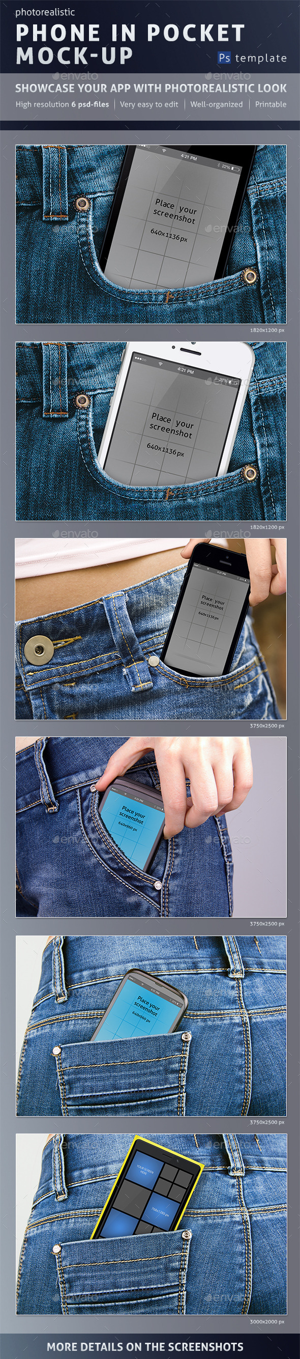Photorealistic Phone in Pocket Mock-up